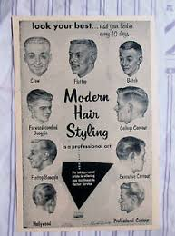 Barbershop Hairstyle Chart Details About Vintage 1957 Barbershop Modern 9 Mens Haircuts Chart Drawings Sign Ad