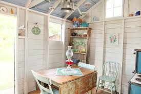shed interiors shabby chic style with whitewashed walls giclee prints and posters