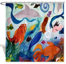 tropical fish and mermaid shower curtain