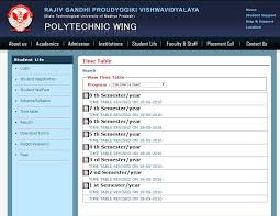 time table of rgpv diploma eduvark select the time table here a option on the left side