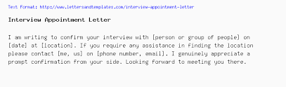 How To Confirm An Interview Interview Appointment Letter