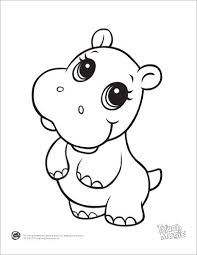 Leapfrog Printable Baby Animal Coloring Pages Hippo Coloring