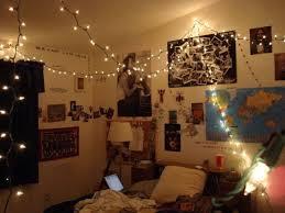 hipster bedroom decorating ideas. Bedroom, Vintage Hipster Bedroom Decorating Ideas White Hanging Led String Lights Beige Solid Wood Bookcase N
