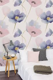 Pink And Purple Wallpaper For A Bedroom Watercolor Blooms Wallpaper Fresh Spring Flower Leaves