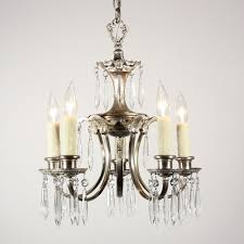 sold beautiful antique five light silver plated art nouveau chandelier with prisms c