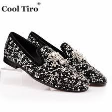 Designer Black Flats Us 74 4 38 Off Cool Tiro Fashion Designer Brand Black Glitter Black Suede Hot Drilling Loafers Men Flats Wedding Party Smoking Slippers Shoes In