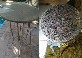 pick up a table that needs some love for this project crushed up cd s and heavy duty glue are all you need to create one at home find out more here