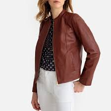 <b>Блузон</b> кожаный <b>короткий</b> с круглым вырезом коньячный <b>La</b> ...