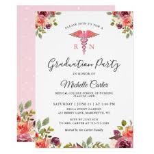 Graduation Party Announcement Watercolor Floral Nursing School Graduation Party Invitation