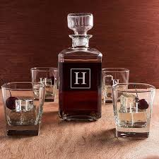 5 pc square glass whiskey decanter and glasses gift set