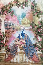 paradise garden with peacock couple