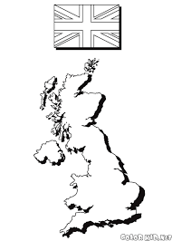 Coloring Page The Map And The Flag Of England
