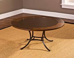 hilale montclair round coffee table wood border with mirrored glass top metal copper