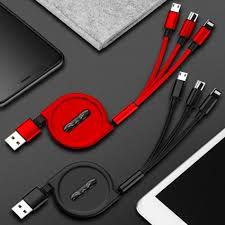 <b>3</b> In <b>1 Retractable USB Cable</b> For iPhone Xs Max X Fast Charging ...