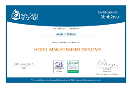 certificate hotel management  hotel management diploma this certificate can be verified online at newskillsacademy