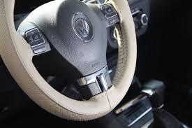 beige pvc leather steering wheel wrap cover w needle thread diy civic accord 0