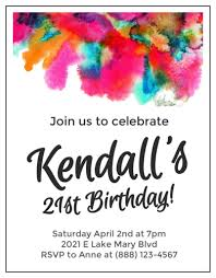 E Invites For Birthday Watercolor Cardstock Birthday Invites Label Templates