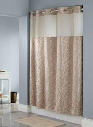 hookless shower curtain with snap liner tree branch taupe polyester extra long