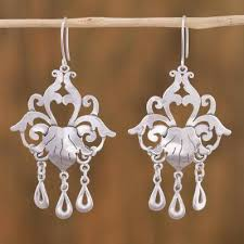 sterling silver chandelier earrings baroque elegance sterling silver fl chandelier earrings from