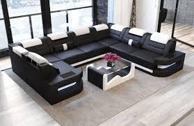 Möbel Sofa Dreams Leder Wohnlandschaft Pesaro U Form Schwarz