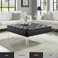spade pu leather ottoman coffee table on tufted silver nailhead trim clear