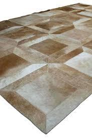 beige cowhide patchwork rug in cube design no custom awesome rugs australia