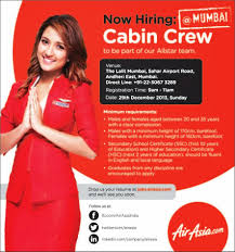 fly gosh air asia cabin crew walk in interview mumbai