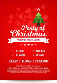 Christmas Invitation Card Bright Red Christmas Party Invitation Card With Decorated