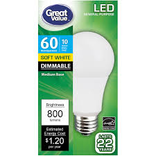 Great Value Cfl Light Bulbs Great Value Led Dimmable A19 E26 Light Bulb 10w 60w Equivalent Soft White Walmart Com