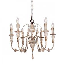more views nto 6 light wood chandelier distressed antique white
