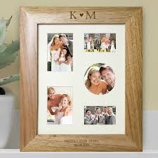 personalised oak collage frame heart and initials jpg