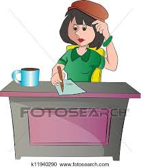 secretary desk clipart.  Desk Clipart  Secretary Or Woman Sitting At A Desk Illustration Fotosearch  Search Clip On Desk