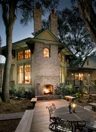 outdoor brick fireplace deck traditional with back porch brays island image by langford construction co inc