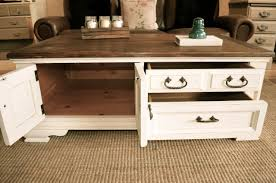 Attractive ... Rectangle Cottage Wood Off White Coffee Table With Storage Designs As  Living Room Sets ... Gallery