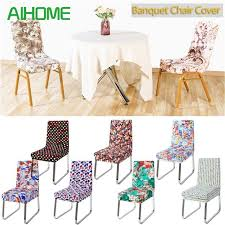 spandex elastic printing dining chair slipcover modern removable anti dirty kitchen seat case stretch chair