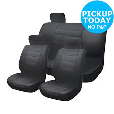 leather look polyester universal car seat covers black from argos on