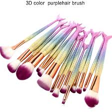 15pcs mermaid makeup brushes set fish l foundation powder eyeshadow make up brushes gold multicolor cosmetic concealer brush in makeup scissors from