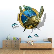 sea aquarium turtle 3d wall stickers creative wall art diy animal