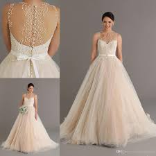 dreaming 2015 champagne wedding dresses with pearls sheer neck