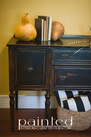 Antique buffet painted and distressed in General Finishes Lamp Black milk  paint