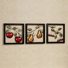 beautiful fruits metal wall art decor kitchen with black frame in most cur kitchen metal wall
