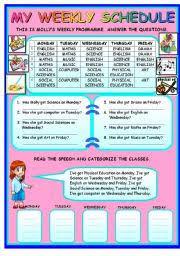 My Weekly Schedule My Weekly Schedule Days Subjects Esl Worksheet By Ayşimgüler