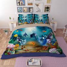 colorful fish starfish c dolphin and mermaid bedding set twin queen king size duvet cover fitted