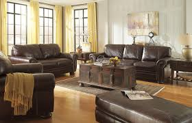 Ashley leather living room furniture Dark Leather Stationary Living Room Group Royal Furniture Signature Design By Ashley Banner Stationary Living Room Group