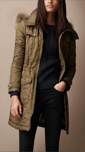 Burberry brit Diamond Quilted Fur Trim Parka in Green | Lyst & Gallery. Women's Quilted Coats Adamdwight.com