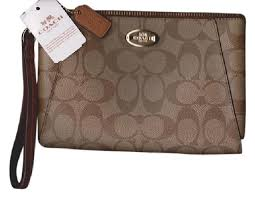 Coach Coach Morgan Signature Large Zippered Coated Canvas Clutch Purse ...