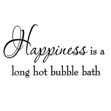 Bath Quotes Interesting Amazon Happiness Is A Long Hot Bubble Bath Wall Decal Bathroom
