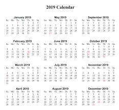 Calendar Year 2019 Printable Yearly Calendar 2019 Blank Free Calendar Templates Worksheets