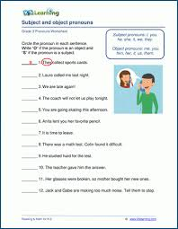 It is also the letter style most often used in early elementary reading books, thereby increasing visual word memorization leading to improved reading ability. Subject And Object Pronoun Worksheets K5 Learning