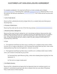 Sample Client Confidentiality Agreements Free Customer List NonDisclosure Agreement NDA PDF Word Docx 22